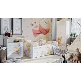 Тедди ТД-294.12.01 Кровать с ящиком  (белый с рисунком)