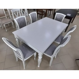 Стол обеденный Жакард 1,5 (1,9) МДФ белая эмаль+ патина