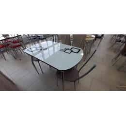 """Стол обеденный раздвижной """"Ривьера"""" рисунок  квадро-1 черный/белый/черный"""
