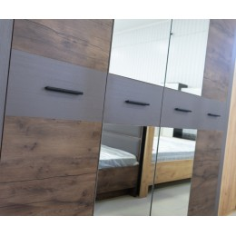 Куба спальня Шкаф для платья и белья 4-х ств. с зеркалом таксус/вольфрам