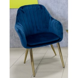 Кресло мягкое синее ноги золото DC-847