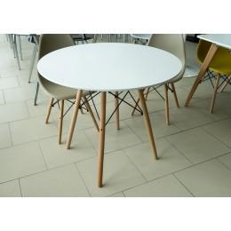 Стол обеденный белый 900 круглый (стол. МДФ, ножки бук) SQT-11