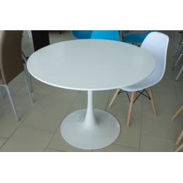 Стол обеденный белый 1000 (стол. круглая МДФ, ножка метал) SQT-1