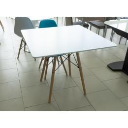 Стол обеденный белый квадратный (стол. МДФ, ножки бук) SQT-12