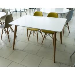 Стол обеденный белый прямоугольный (стол. МДФ, ножки бук) T-14
