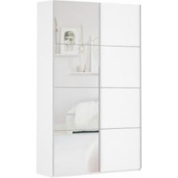 Шкаф-купе Прайм 1400*2300 белый глянец с ящиками (1 дв.стекло + 1 дв. зеркало)