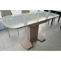 Стол обеденный раздвижной Корсика кожа  1 исп. (1100*700 (1400)) дуб выбеленный/стек.молочное/кожа м