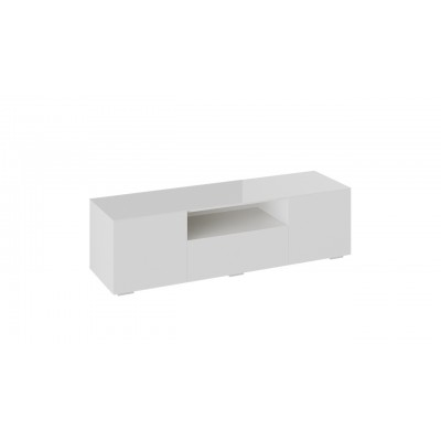 Glance Тумба под ТВ тип 1 белый/стекло белый глянец