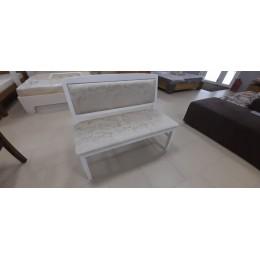 Скамья со спинкой без подлокотников эмаль белая/тк. Лотта 01