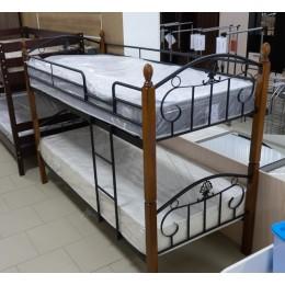 Кровать Болеро 2-х ярус. (гевея/металл 90/200 красный дуб/черный