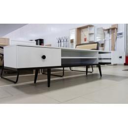 Тумба ТВ-2 Art design 1802*450*400 орех темный/белый глянец