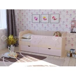 Кровать Бабочки 1600 дуб беленый/фиолет металлик