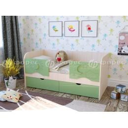 Кровать Соня 1600 дуб беленый/бирюза металлик