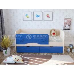 Кровать Техно 1600 дуб беленый/синий металик