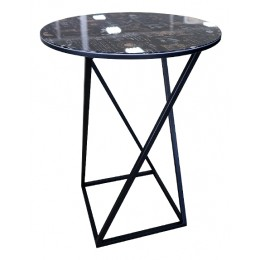 Стол со стеклянной поверхностью ДП 1-03-05 (журнальный) (черный/стекло с рисунком кофе)