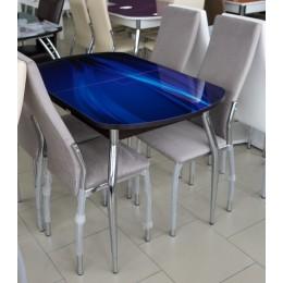 Стол обеденный раздвижной Ривьера стекло 1 исп. венге/текстура 70