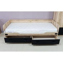 Окланд Кровать с ящиками  ТД-324.12.01 черный/дуб делано