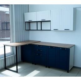 Кухня Юта белый/софт синий 2,0м + барная стойка
