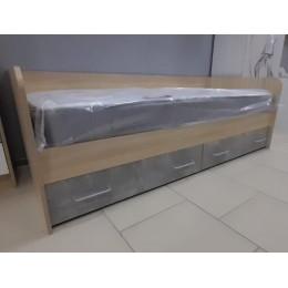 Детская Колибри Кровать с ящиками 600*1892*880 дуб сонома/телье светлое + акрил белый