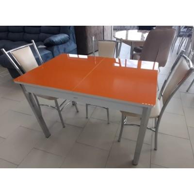 Стол обеденный раздвижной Гамбург стекло исп. 1 белый/оранжевый