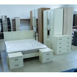 Кантри спальня Шкаф для платья и белья ШР-3 ЛДСП/МДФ ЛАК слоновая кость