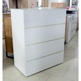 Glance Комод тип 1 белый/стекло белый глянец