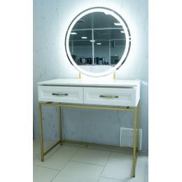 Александрия Стол гримерный СА-22 с подсветкой бодега белая подстолье золото+каркас для зеркала