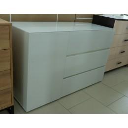 Glance Комод тип 2 белый/стекло белый глянец