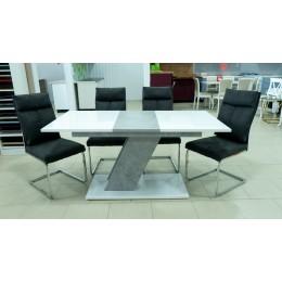 Стол обеденный мемфис 1200(1600)*800 бетон чикаго светло серый/белый глянец