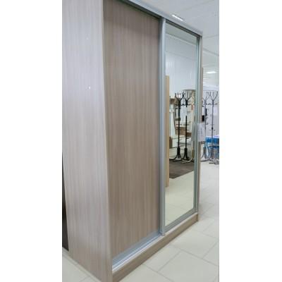 Шкаф купе №1  2200*1400*600 ясень шимо светлый с ящиками двери ясень шимо светлый + зеркало