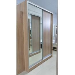 Шкаф купе №1 2200*1600*600 дуб сонома с ящиками двери дуб сонома + зеркало