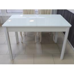 Стол обеденный раздвижной Гамбург стекло исп. 1 белый/белый