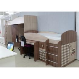 Детская Алешка Кровать 2-х ярусная + стол угловой  левая ясень шимо светлый/темный