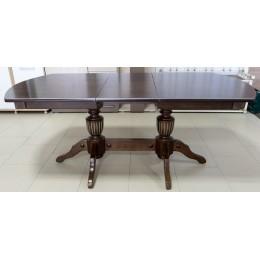 Стол обеденный Виол 1500(1900)*900*760 на 2-х опорах МДФ шпон/орех+серебро