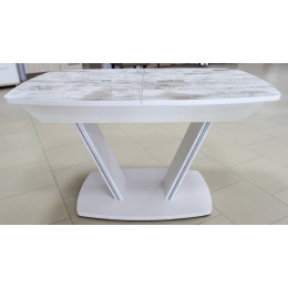Стол обеденный раздвижной Дрезден пластик 1300(1600)*800 белое/светлое дерево