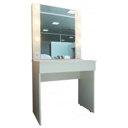 Стол гримерный с зеркалом белый глянец 800*500*760
